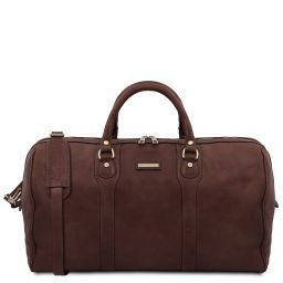 Oslo Travel leather duffle bag - Weekender bag Dark Brown TL141913