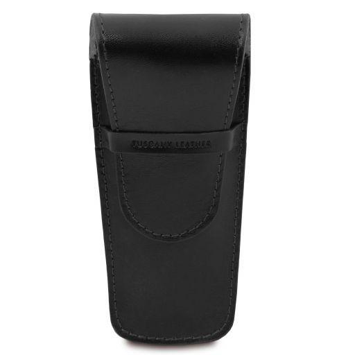 Exklusives Etui aus Leder für zwei Stifte/Uhren Schwarz TL141273