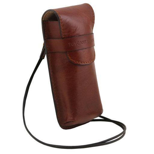 Exclusiva funda para gafas/Smartphone en piel con bandolera Modelo grande Marrón TL141321