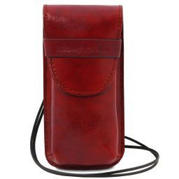 Exclusive leather eyeglasses/Smartphone holder Large size Red TL141321