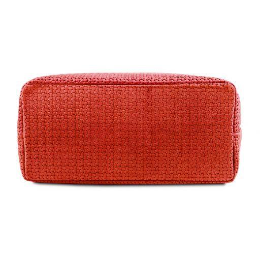 TL KeyLuck Bolso shopping en piel imprimida tejida Rojo Lipstick TL141573