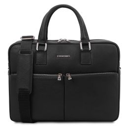Treviso Leather laptop briefcase Black TL141986