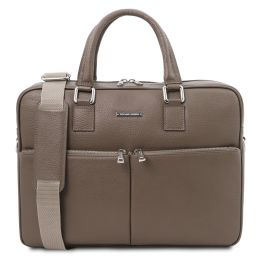 Treviso Leather laptop briefcase Dark Taupe TL141986