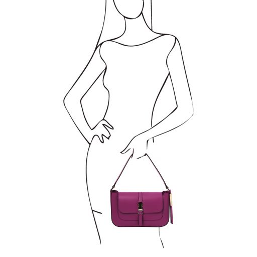 Noemi Leather clutch handbag Purple TL141959