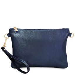 TL Bag Pochette in pelle morbida metallic Blu scuro TL141988