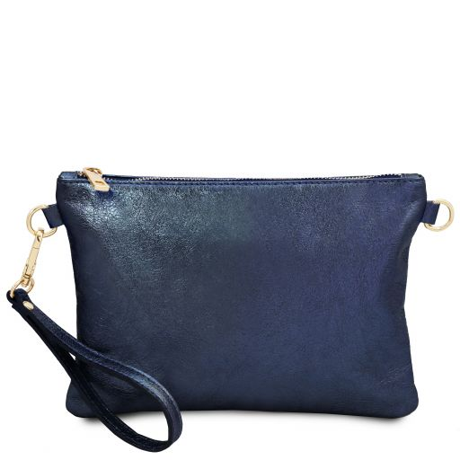 TL Bag Pochette in pelle morbida metallic Blu scuro TL141988