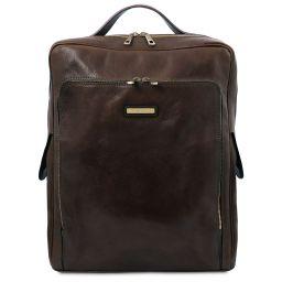 Bangkok Leather laptop backpack - Large size Dark Brown TL141987