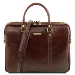 Prato Elégante serviette pour portable en cuir Marron TL141283