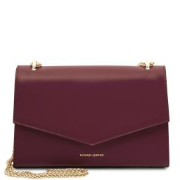 Fortuna Leather clutch with chain strap Bordeaux TL141944