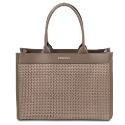 TL Bag Woven printed leather shopping bag Dark Taupe TL141724
