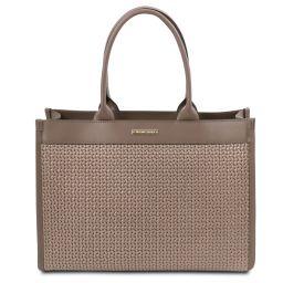 TL Bag Bolso shopping en piel imprimida tejida Marrón topo oscuro TL141724