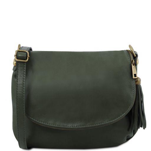 TL Bag Bolso en piel suave con borla y bandolera Verde Oscuro TL141223