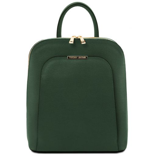TL Bag Saffiano leather backpack for women Forest Green TL141631