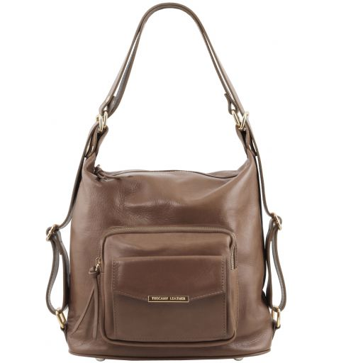 TL Bag Bolso de señora en piel convertible en mochila Marrón topo oscuro TL141535