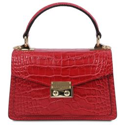 TL Bag Croc print leather mini bag Lipstick Red TL141995