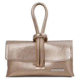 TL Bag Metallic leather clutch Gold TL141993