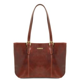 Annalisa Leather shopping bag with two handles Brown TL141710