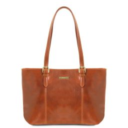 Annalisa Borsa shopping in pelle con due manici Miele TL141710