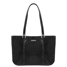 Annalisa Leather shopping bag with two handles Black TL141710