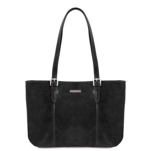Annalisa Leather shopping bag with two handles Черный TL141710