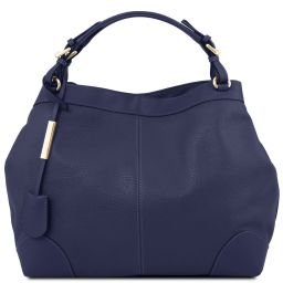 Ambrosia Soft leather shopping bag with shoulder strap Dark Blue TL141516