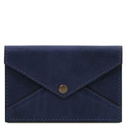 Porte-cartes de visite / cartes de crédit en cuir Bleu foncé TL142036