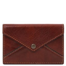 Leather business card / credit card holder Brown TL142036