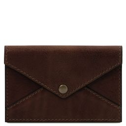 Porte-cartes de visite / cartes de crédit en cuir Marron foncé TL142036