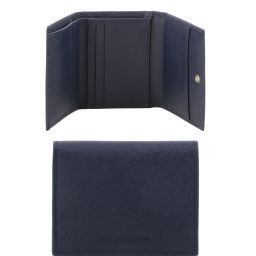 Exclusive 3 fold Saffiano leather wallet for men Dark Blue TL141499
