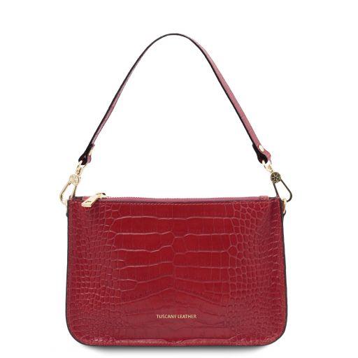 Cassandra Croc print leather clutch handbag Red TL142039