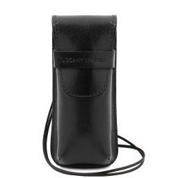 Esclusivo portaocchiali/Portacellulare/porta orologio a tracolla in pelle Nero TL141282