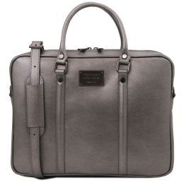 Prato Exclusive metallic leather laptop case Iron-grey TL142041