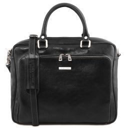 Pisa Leather laptop briefcase with front pocket Black TL141660