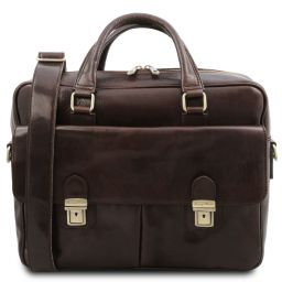 San Miniato Leather multi compartment laptop briefcase with two front pockets Dark Brown TL142026
