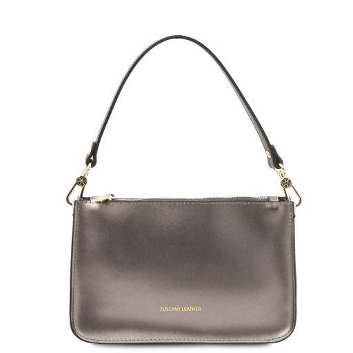 Cassandra Leather clutch handbag Iron-grey TL142038