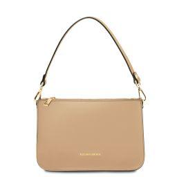 Cassandra Leather clutch handbag Champagne TL142038