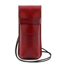 Esclusivo portaocchiali/Portacellulare/porta orologio a tracolla in pelle Rosso TL141282