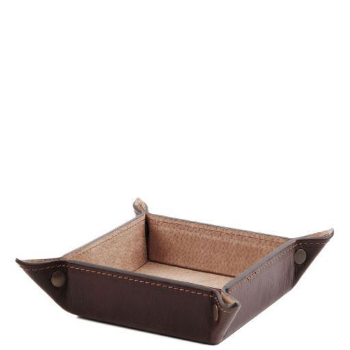 Эксклюзивный кожаный лоток для мелочей малая модель Темно-коричневый TL141272