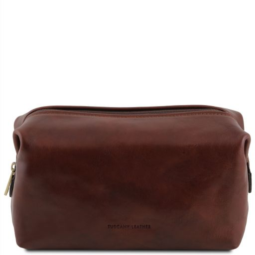 Smarty Leather toilet bag - Large size Brown TL141219