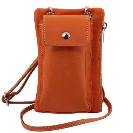 TL Bag Sac bandoulière pour portable en cuir souple Orange TL141423