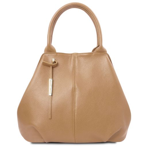 TL Bag Soft leather tote Champagne TL142005