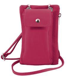 TL Bag Sac bandoulière pour portable en cuir souple Fuchsia TL141423