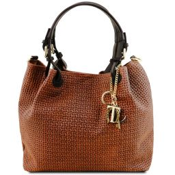 TL KeyLuck Sac shopping en cuir imprimé tressé Cannelle TL141573