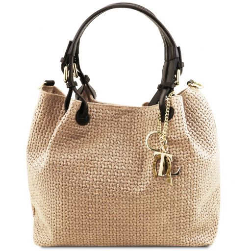 TL KeyLuck Woven printed leather shopping bag Beige TL141573