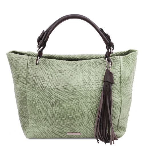 TL Bag Bolso shopping en piel imprimida tejida Menta Verde TL142066