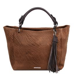 TL Bag Borsa shopping in pelle stampa intrecciata Cannella TL142066