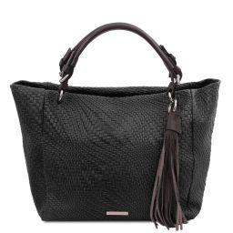 TL Bag Woven printed leather shopping bag Black TL142066