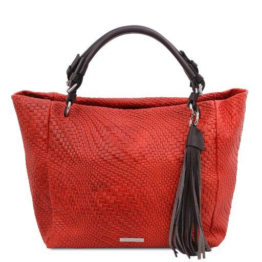TL Bag Borsa shopping in pelle stampa intrecciata Rosso Lipstick TL142066