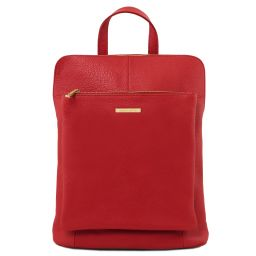 TL Bag Soft leather backpack for women Lipstick Red TL141682