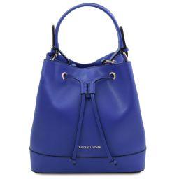Minerva Leather bucket bag Blue TL142050